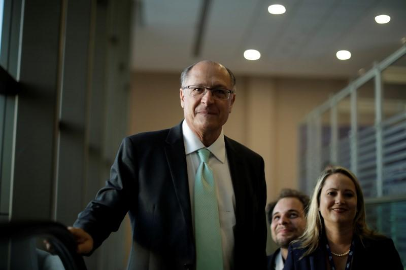 Geraldo Alckmin of the Brazilian Social Democracy Party (PSDB), a pre-candidate for Brazil's presidential election, arrives on the a Mobility Forum of the National Association of Passenger Carriers on Rails, in Brasilia, Brazil July 18, 2018. Ueslei Marcelino