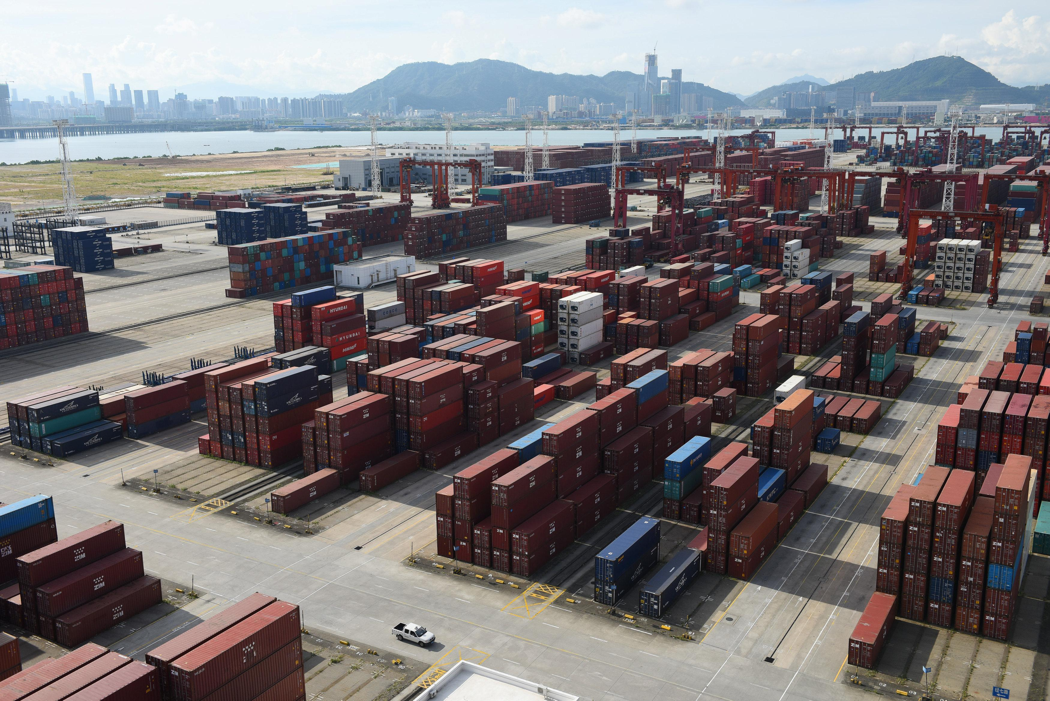 Shipping containers are seen stacked at the Dachan Bay Terminals in Shenzhen, Guangdong province, China July 12, 2018. Stringer