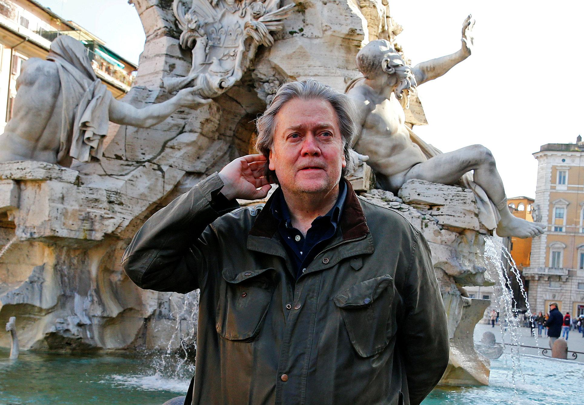 U.S. President Donald Trump's former chief strategist Steve Bannon poses in Piazza Navona in Rome, Italy March 2, 2018. Tony Gentile