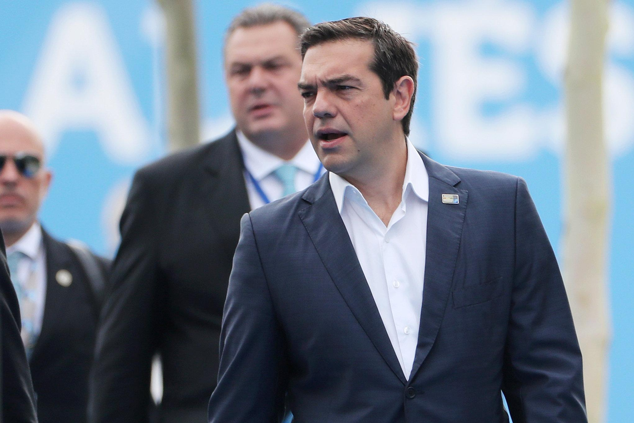 Greek Prime Minister Alexis Tsipras arrives for the second day of a NATO summit in Brussels, Belgium, July 12, 2018. Tatyana Zenkovich/Pool via