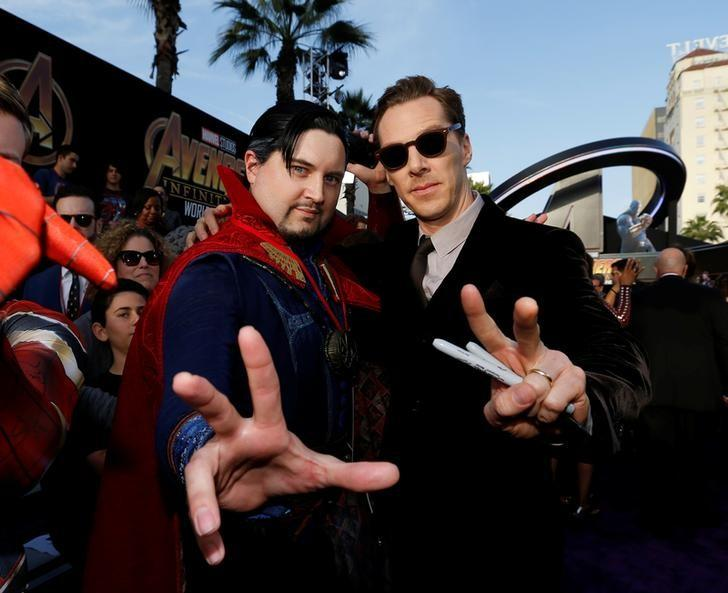 "Premiere of ""Avengers: Infinity War"" - Arrivals - Los Angeles, California, U.S., 23/04/2018 - Actor Benedict Cumberbatch poses with a fan in costume. Mario Anzuoni"