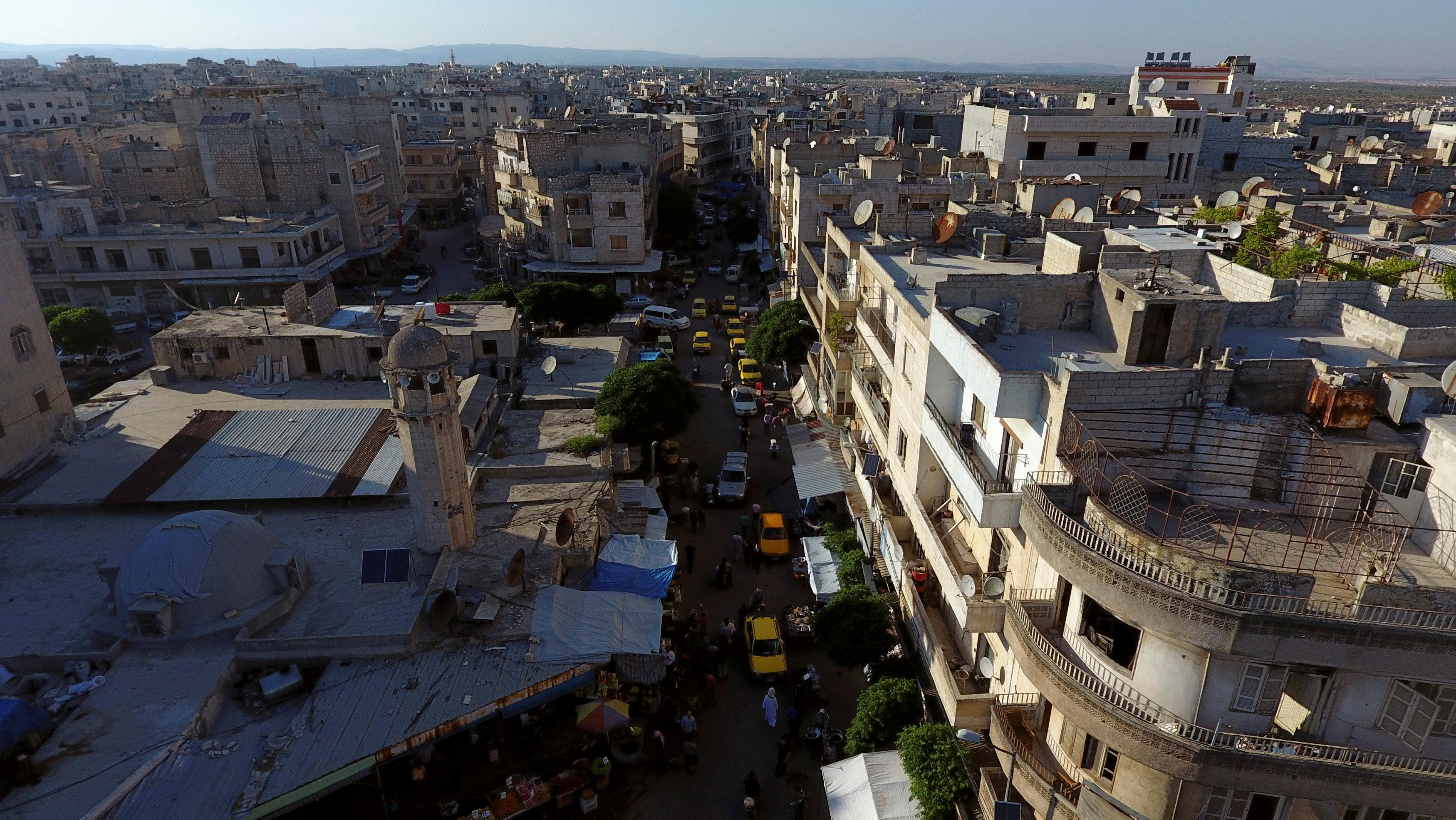 A general view taken with a drone shows part of the rebel-held Idlib city, Syria June 8, 2017. Ammar Abdullah