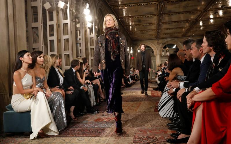 A model presents a collection at Ralph Lauren