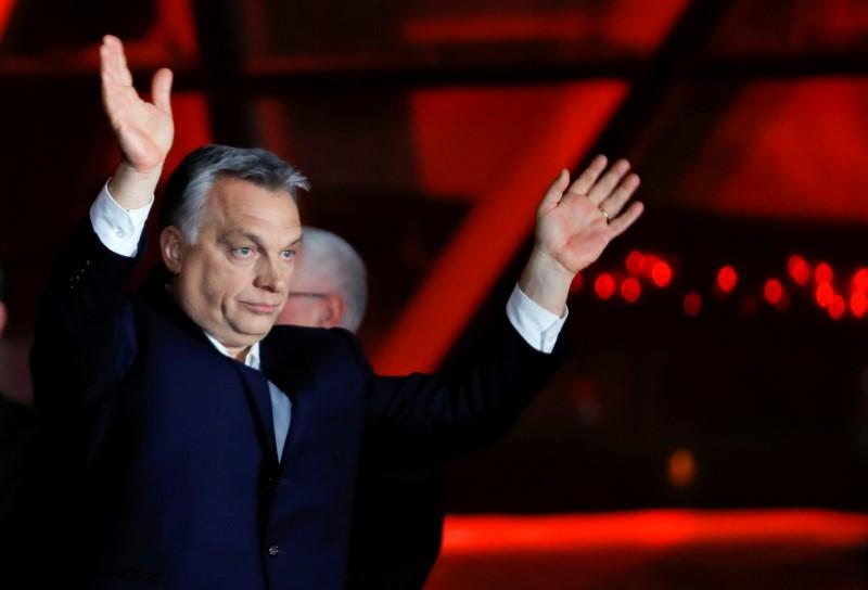 Hungarian Prime Minister Viktor Orban addresses supporters in Budapest after the announcement of partial results in Hungary's parliamentary election. April 8, 2018. Leonhard Foeger
