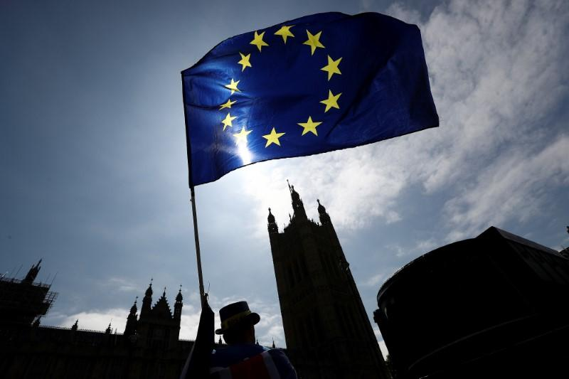 An anti-Brexit protester waves an EU flag opposite the Houses of Parliament in London, Britain June 8, 2018. Simon Dawson