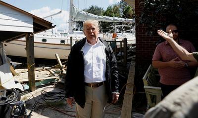 Trump visits hurricane-stricken North Carolina