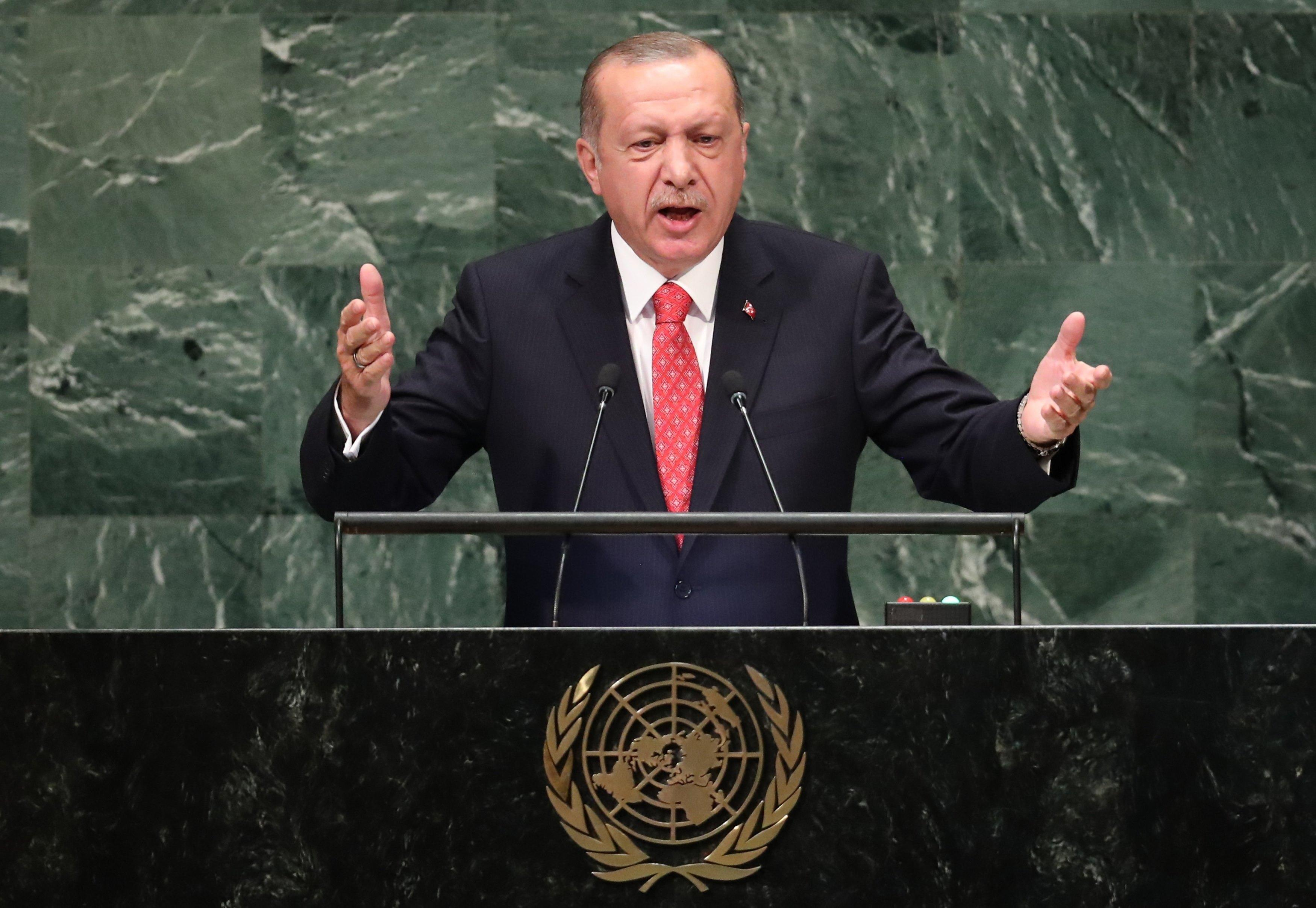 Turkey's President Recep Tayyip Erdogan addresses the 73rd session of the United Nations General Assembly at U.N. headquarters in New York, U.S., September 25, 2018. Carlo Allegri