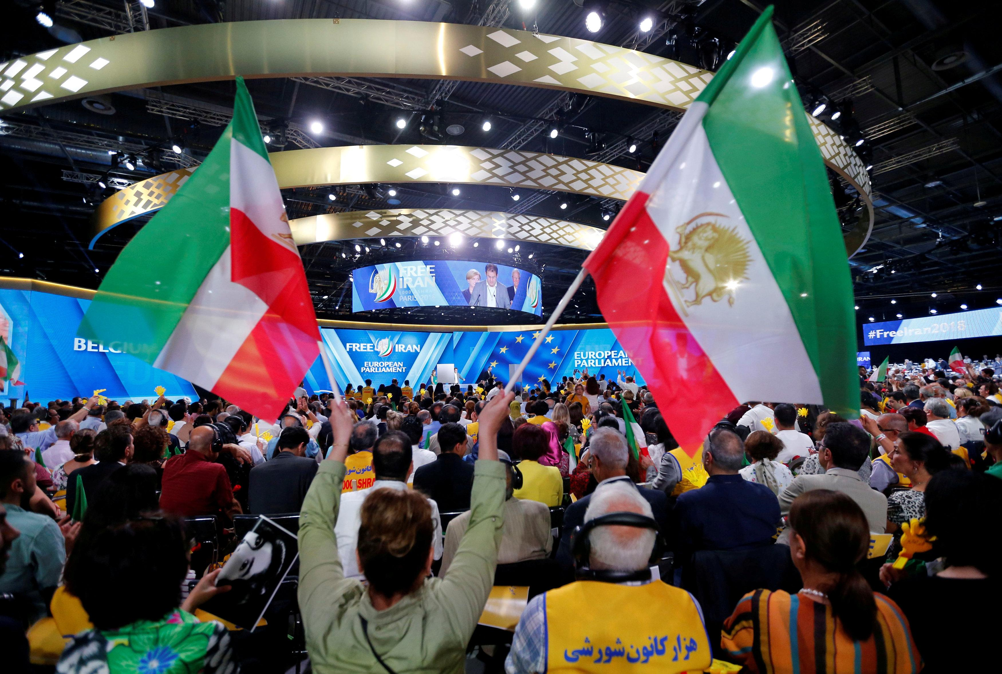 Supporters of Maryam Rajavi, president-elect of the National Council of Resistance of Iran (NCRI), attend a rally in Villepinte, near Paris, France, June 30, 2018.   Regis Duvignau