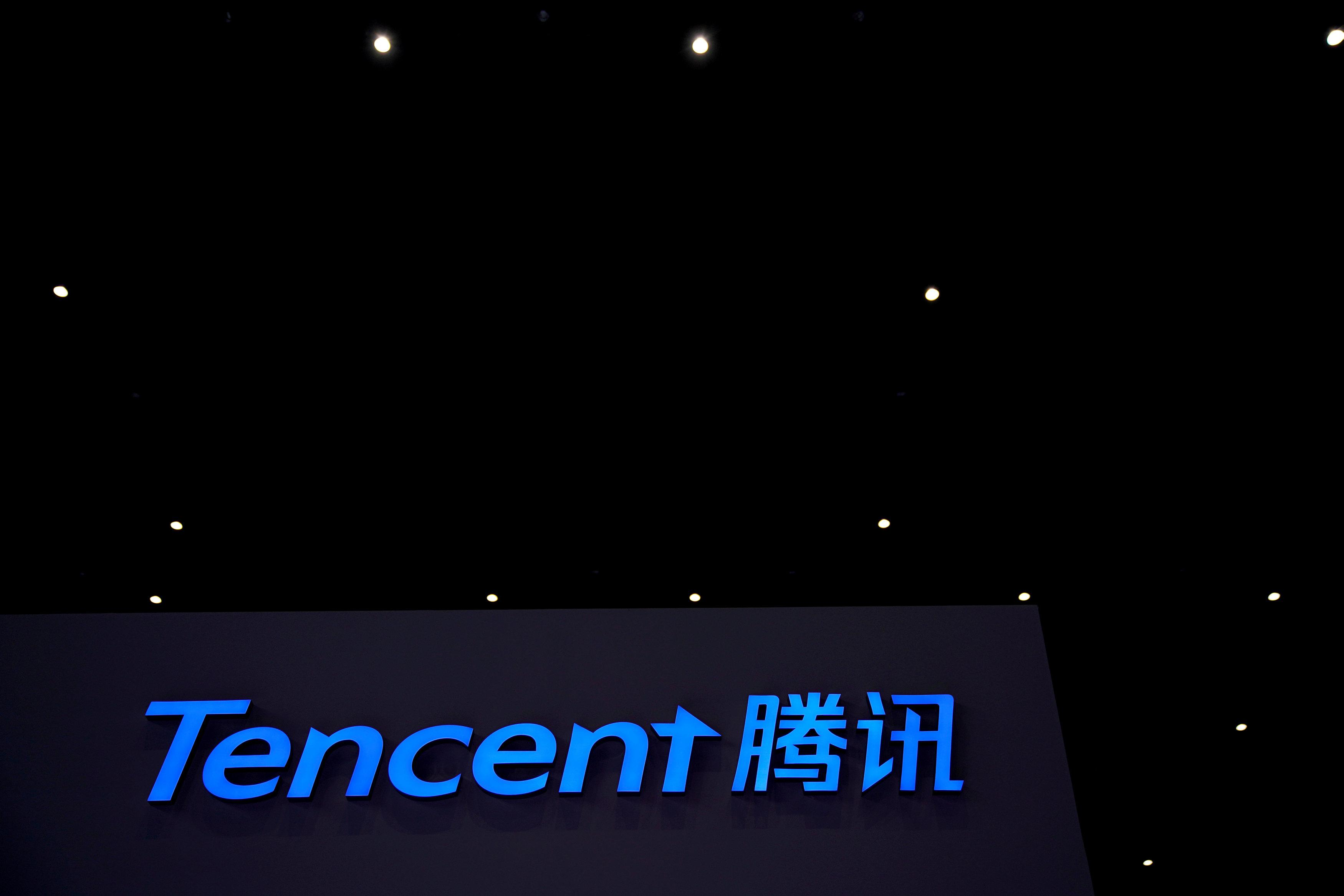 A Tencent sign is seen during the fourth World Internet Conference in Wuzhen, Zhejiang province, China, December 4, 2017. Aly Song