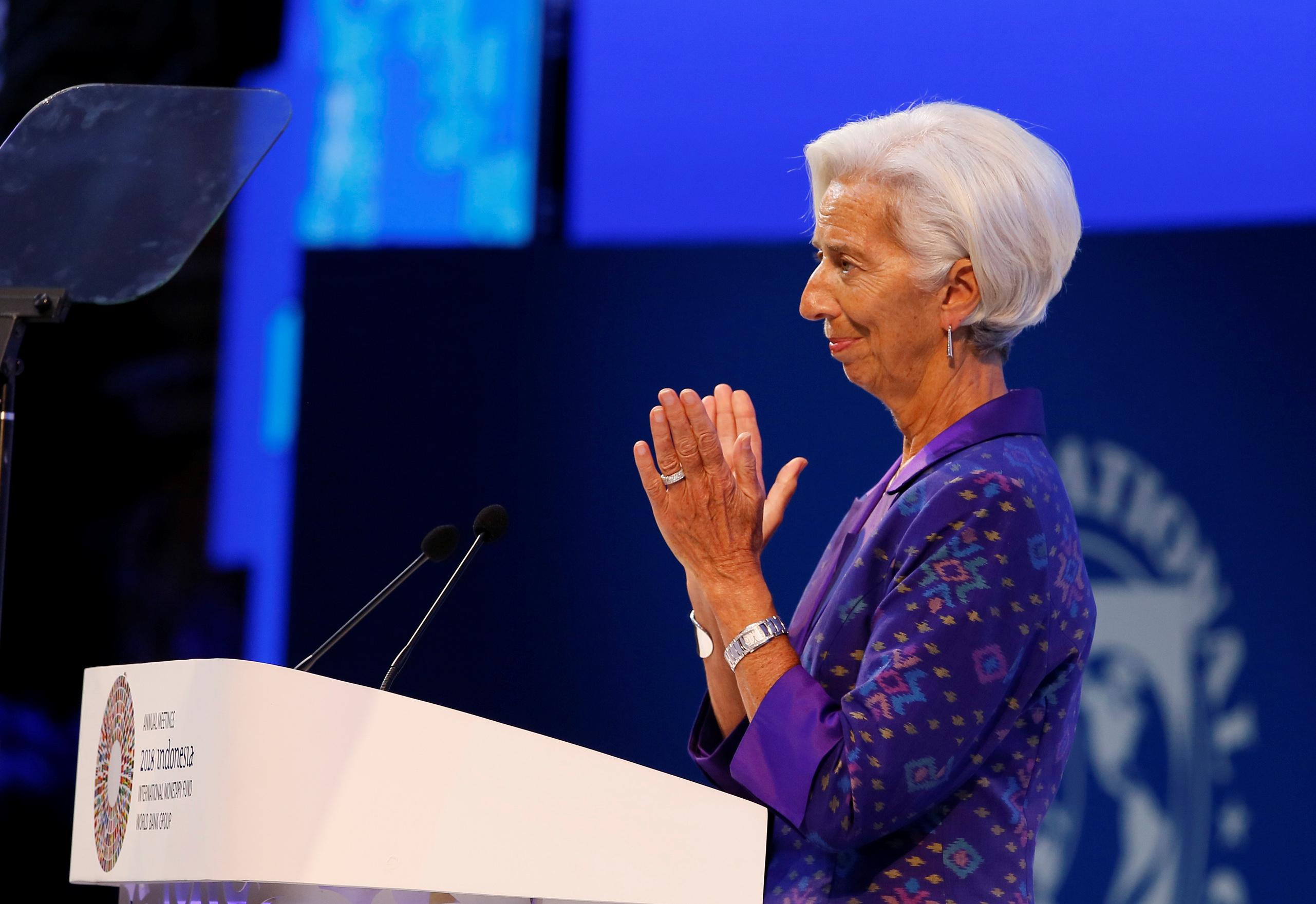 IMF Managing Director Christine Lagarde delivers a speech during a plenary session at International Monetary Fund - World Bank Annual Meeting 2018 in Nusa Dua, Bali, Indonesia, October 12, 2018. Johannes P. Christo