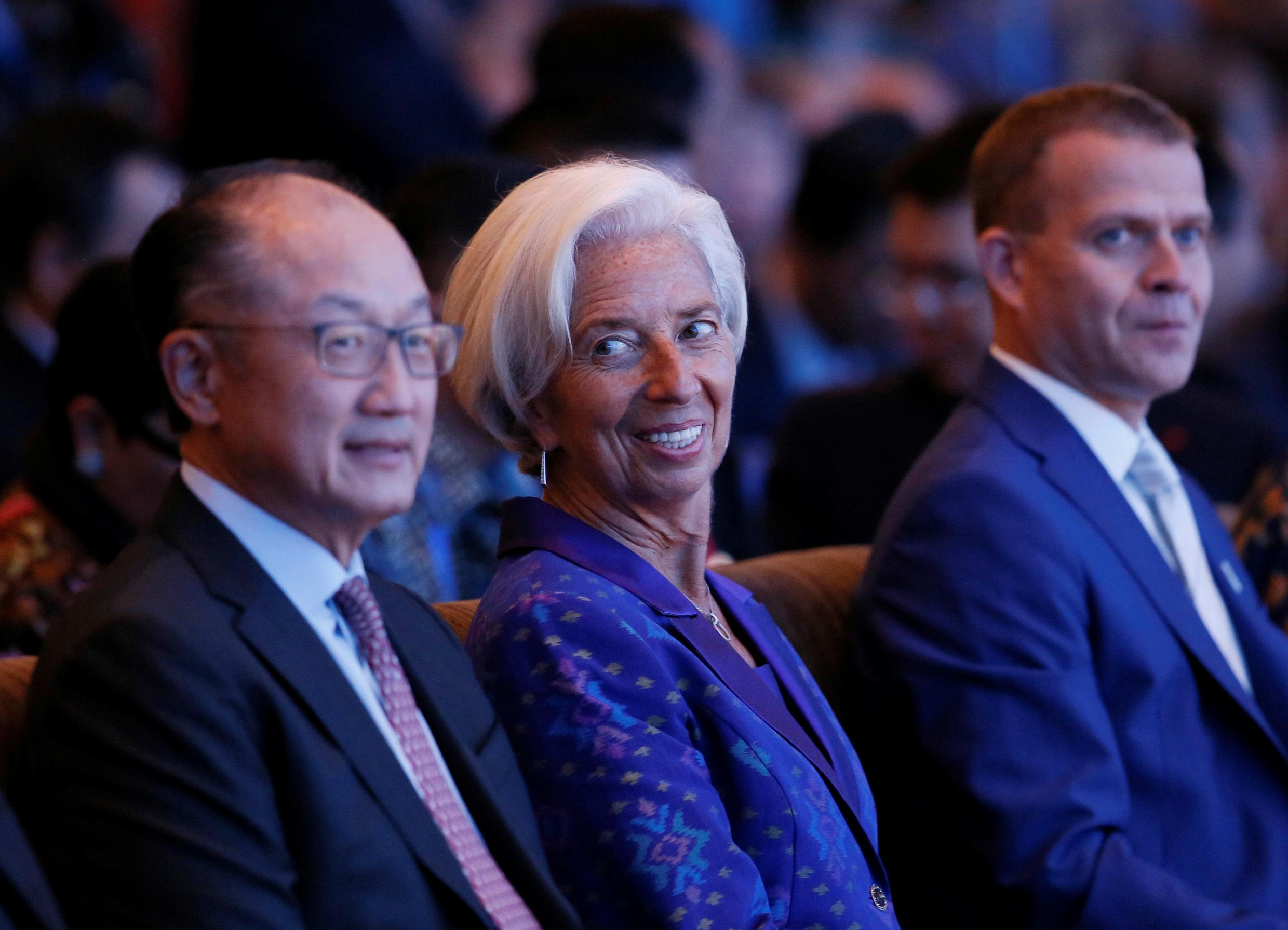 (L-R) World Bank President Jim Yong Kim, IMF Managing Director Christine Lagarde and Finland Finance Minister Petteri Orpo attend a plenary session at International Monetary Fund - World Bank Annual Meeting 2018 in Nusa Dua, Bali, Indonesia, October 12, 2018. Johannes P. Christo