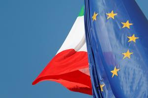 European Union and Italian flags are seen in downtown Rome