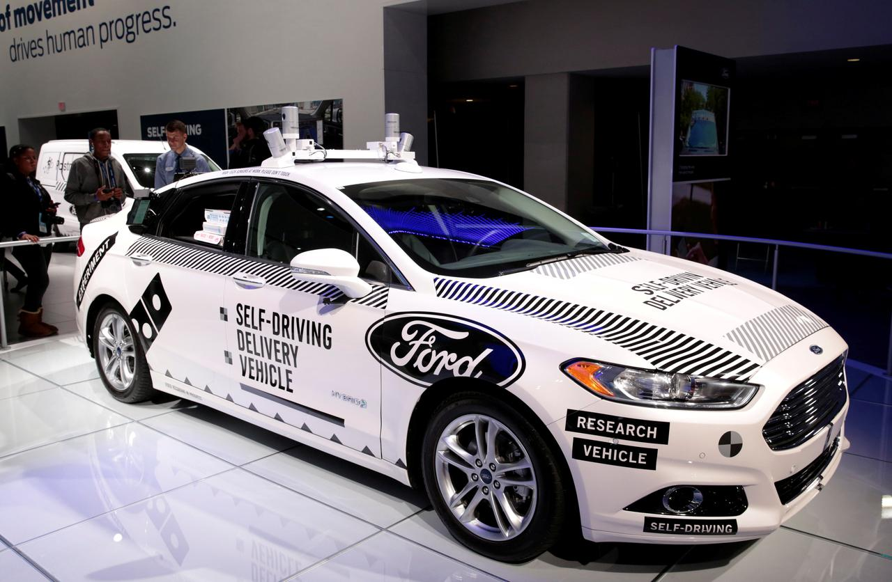 File photo a ford fusion hybrid level 4 autonomous vehicle used by ford motor and dominos pizza to test a self driving pizza delivery car in michigan