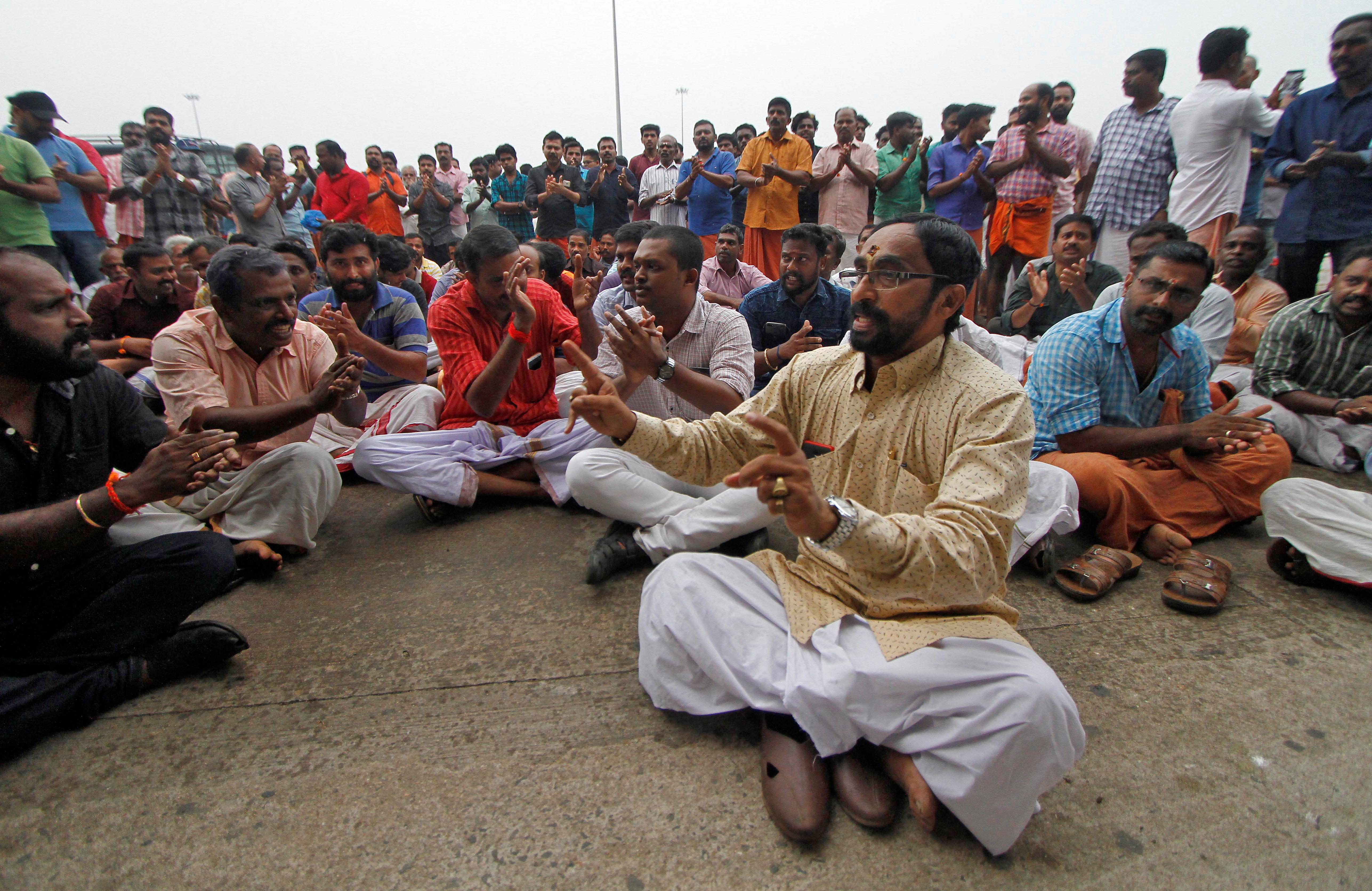 Indian airport protesters block woman activist's plan to