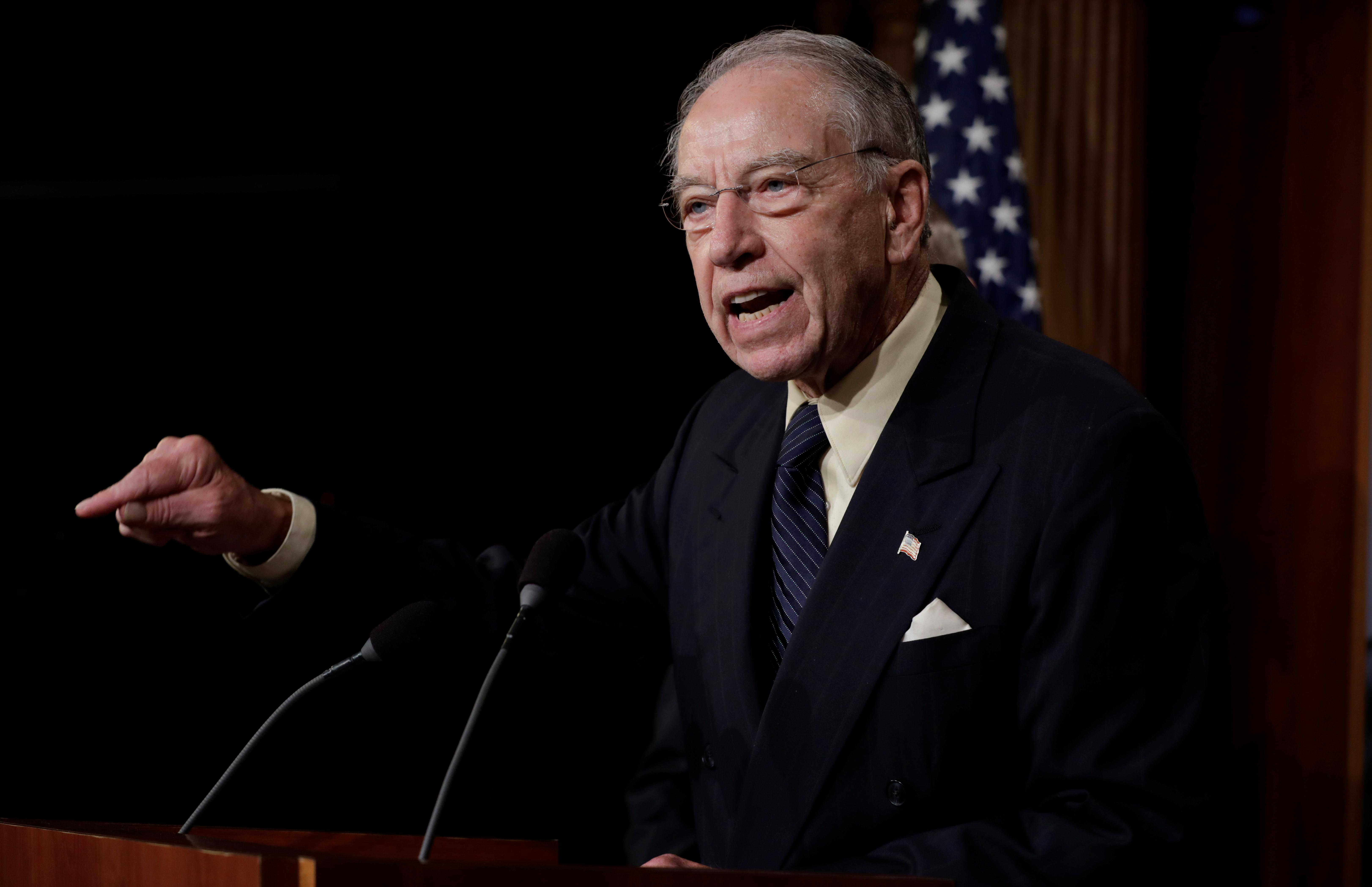 U.S. Senate Judiciary Committee Chairman Senator Chuck Grassley (R-IA) speaks during a news conference to discuss the FBI background investigation into the assault allegations against U.S. Supreme Court nominee Judge Brett Kavanaugh on Capitol Hill in Washington, U.S., October 4, 2018. Yuri Gripas