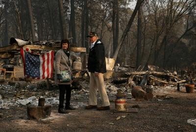 Trump visits charred ruins of Paradise