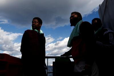 Migrants stranded on the Mediterranean