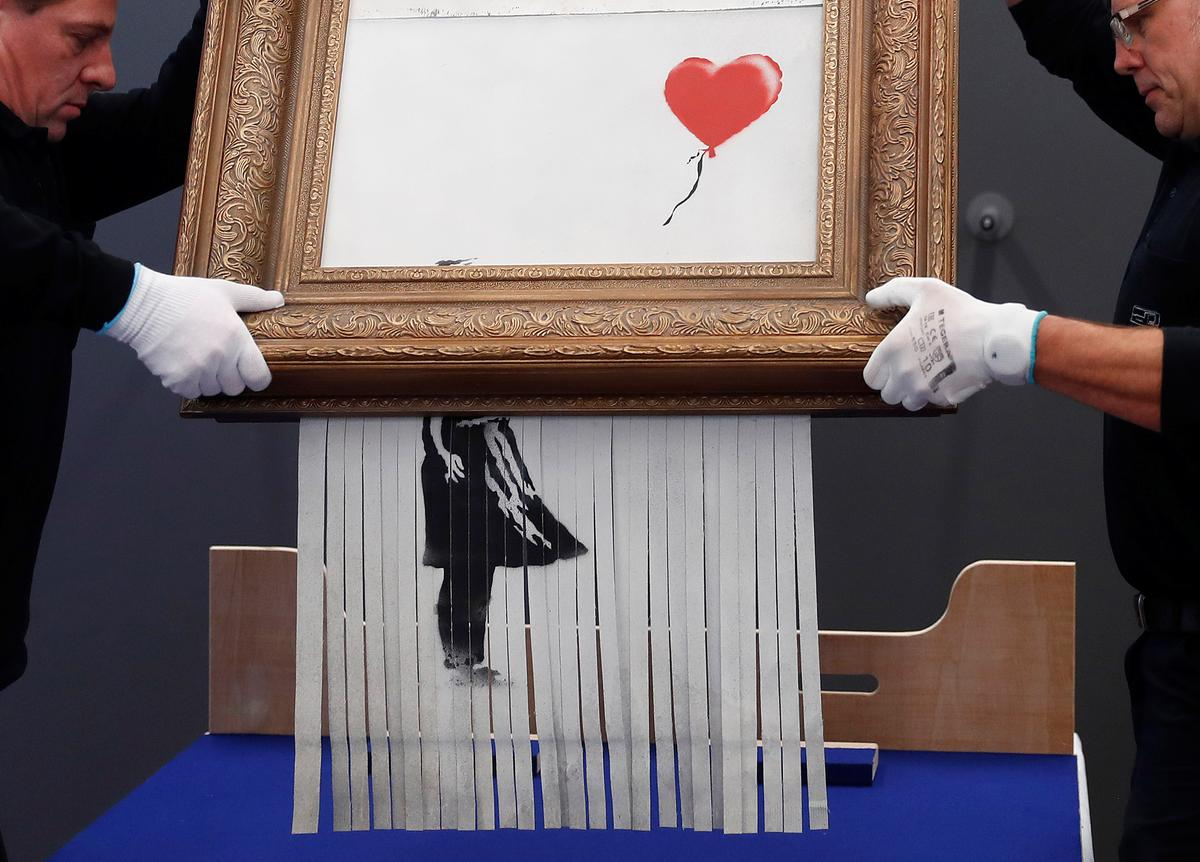 Self-shredding Banksy painting goes on display in Germany