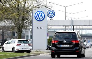 Logo of Volkswagen is seen at their plant in Wolfsburg