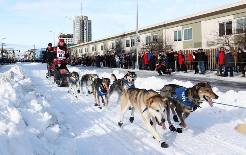 Iditarod sled dog race across Alaska starts with pageant