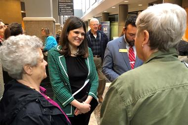 FILE PHOTO - U.S. Representative Haley Stevens speaks with constituents at...
