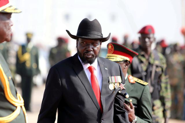 South Sudan's president Salva Kiir attends a medals awarding ceremony for long serving servicemen of the South Sudan People's Liberation Army (SPLA) in the Bilpam, military headquarters in Juba, South Sudan January 24, 2019. REUTERS/Samir Bol/File Photo