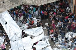 U.S. Border Patrol migrant camp from above
