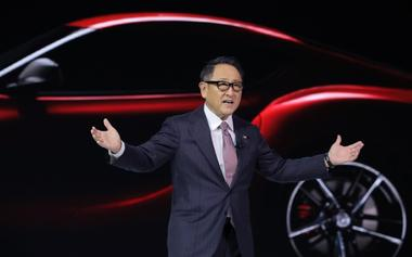 FILE PHOTO: Toyota's Toyoda speaks at the North American International Auto...