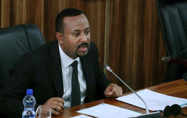 Ethiopia's Prime Minister Abiy Ahmed addresses the legislators on the current situation of the country inside the Parliament buildings in Addis Ababa, Ethiopia, July 1, 2019. REUTERS/Tiksa Negeri/File Photo
