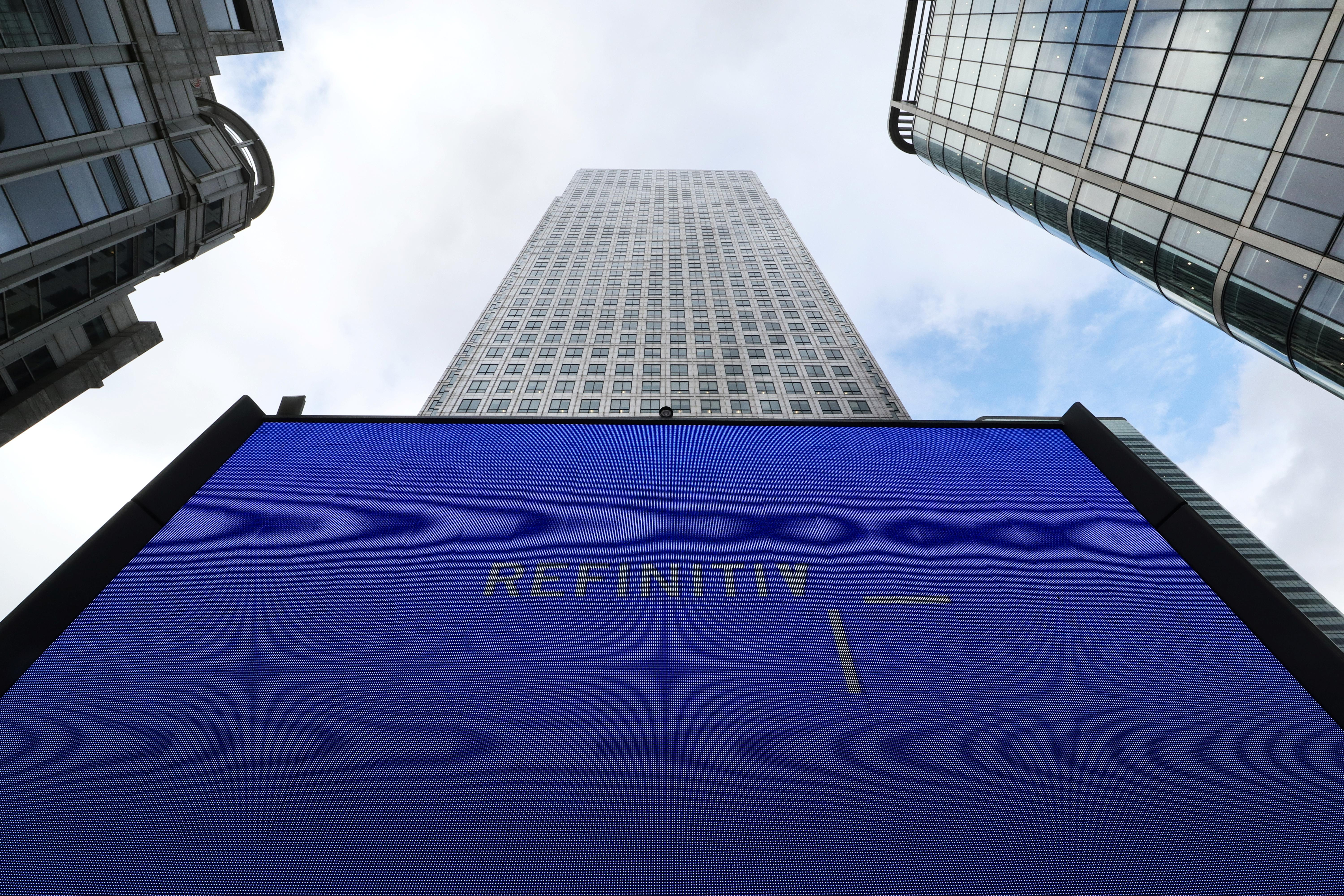 An advertisement for Refinitiv is seen on a screen in London's Canary Wharf financial centre, London, Britain, October 2, 2018. Russell Boyce
