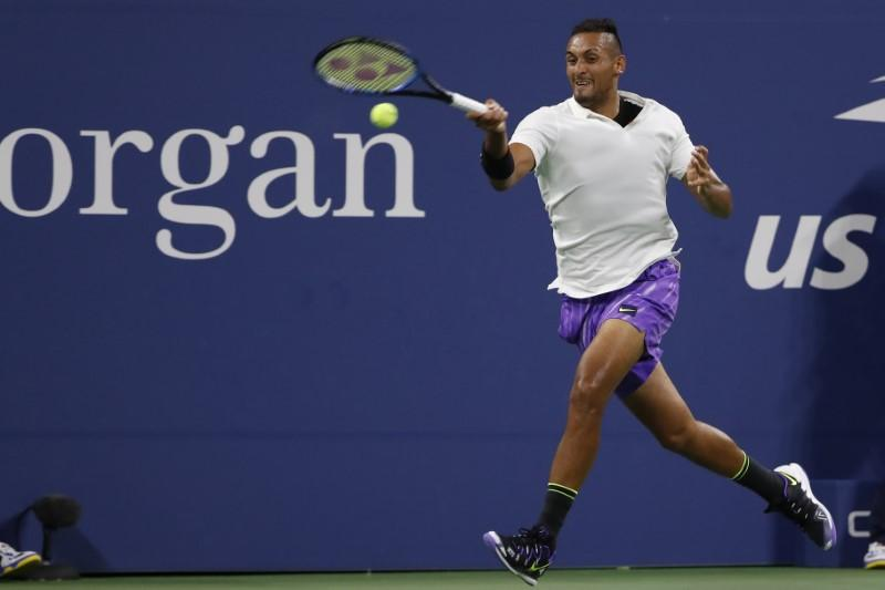 Kyrgios keeps mostly calm and carries on at U.S. Open