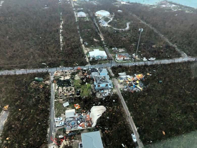 An aerial view shows devastation after Hurricane Dorian hit the Abaco Islands in the Bahamas, September 3, 2019. Michelle Cove/Trans Island Airways/via REUTERS