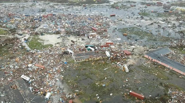 An aerial view of devastation after Hurricane Dorian hit the Abaco Islands in the Bahamas, September 3, 2019. Terran Knowles/Our News Bahamas/via REUTERS