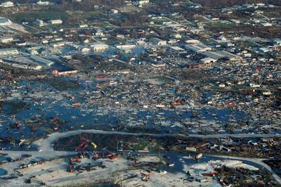 Hurricane Dorian destruction from above