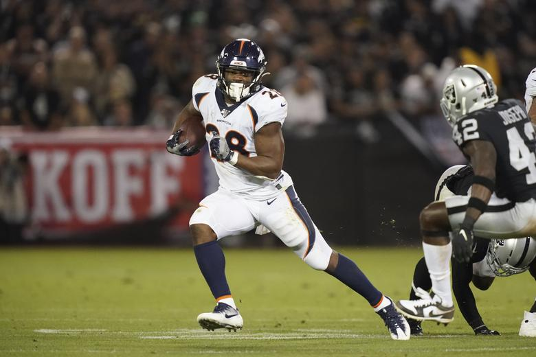 Denver Broncos running back Royce Freeman carries the ball in the second half against the Oakland Raiders at Oakland-Alameda County Coliseum in Oakland. The Raiders defeated The Broncos 24-16. Kirby Lee-USA TODAY Sports