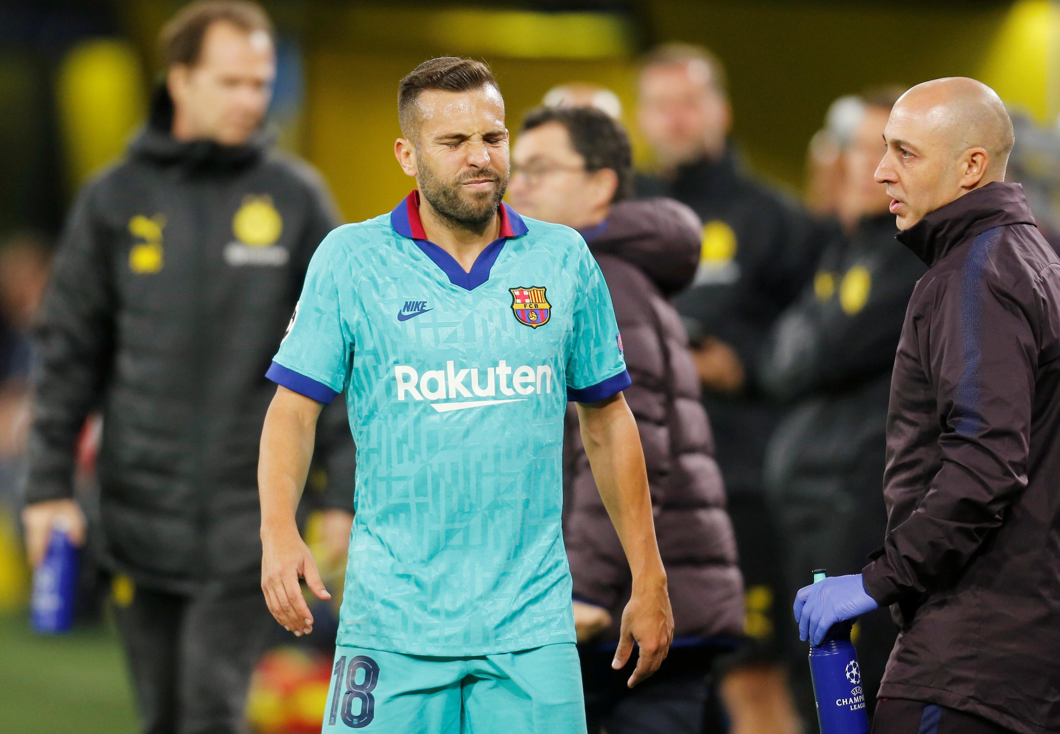 Barca defender Alba sidelined with hamstring injury
