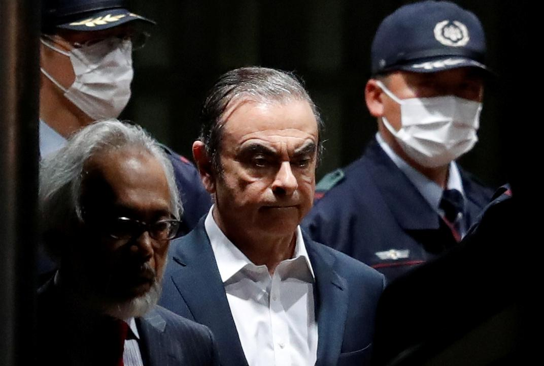 Former Nissan Motor Chariman Carlos Ghosn leaves the Tokyo Detention House in Tokyo, Japan April 25, 2019. Issei Kato