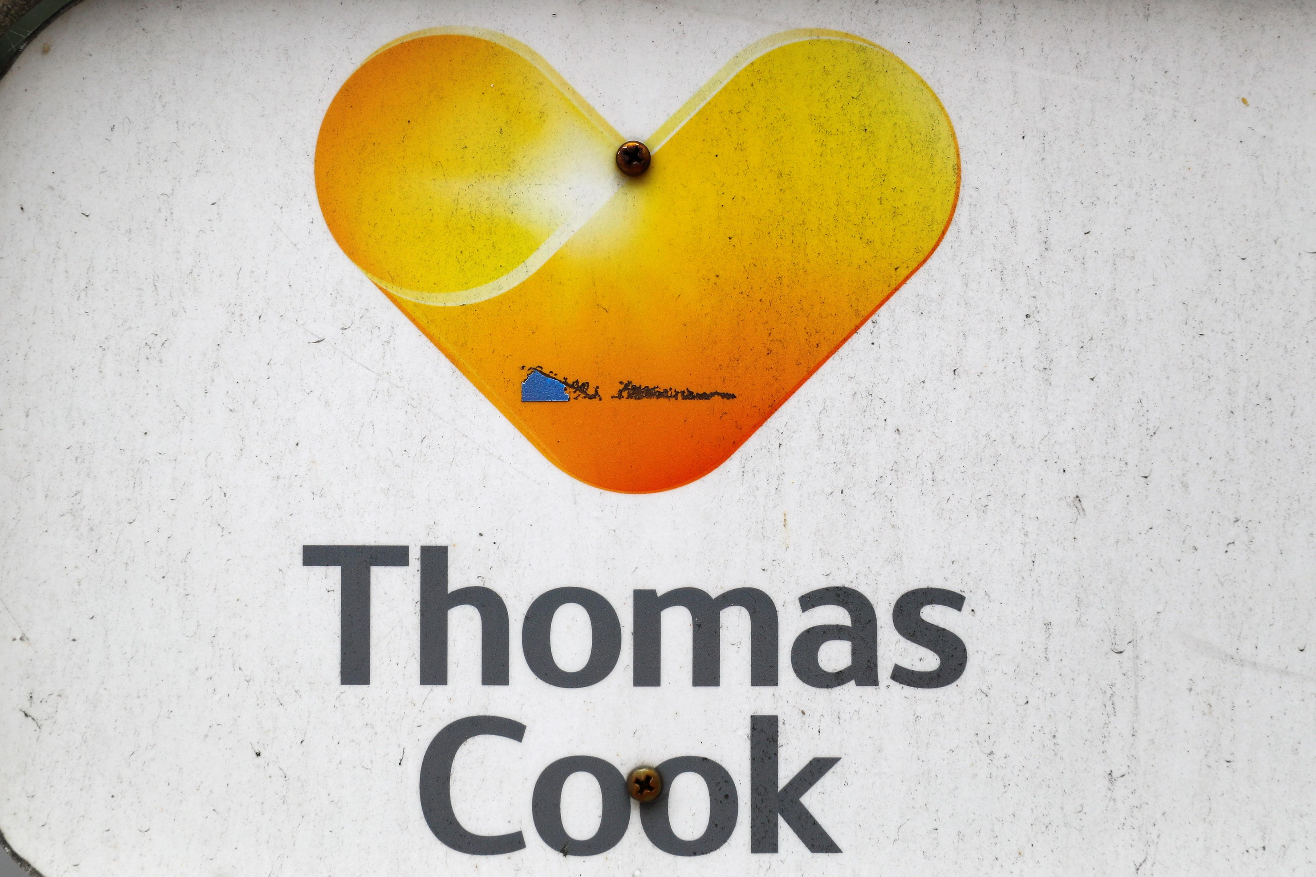 The Thomas Cook logo is seen at their German headquarters in Oberursel, near Frankfurt, Germany September 23, 2019.  Kai Pfaffenbach