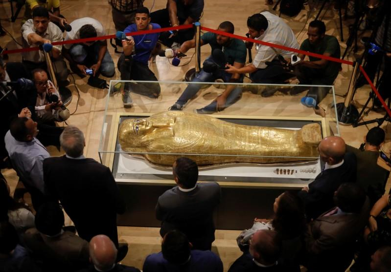 Image result for Egypt gets back looted gold coffin displayed in New York