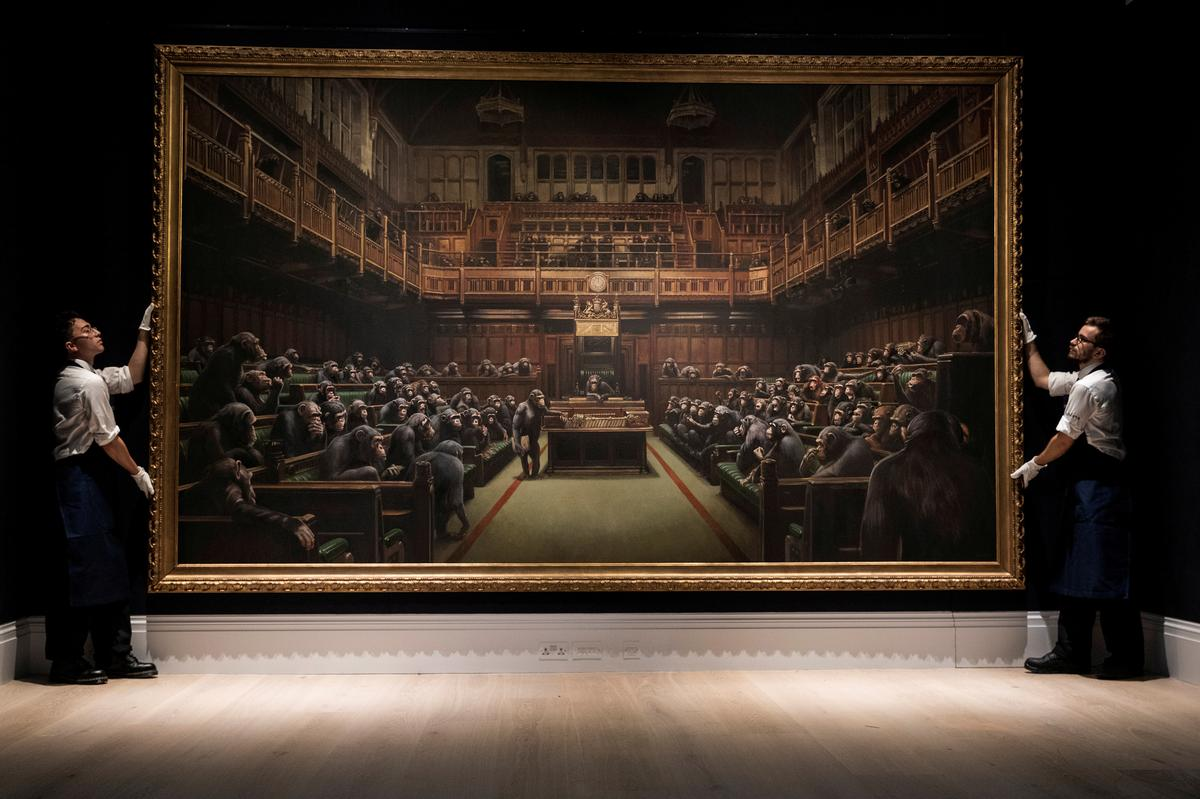 Banksy's chimp-depicting 'Devolved Parliament' sells for over $12...