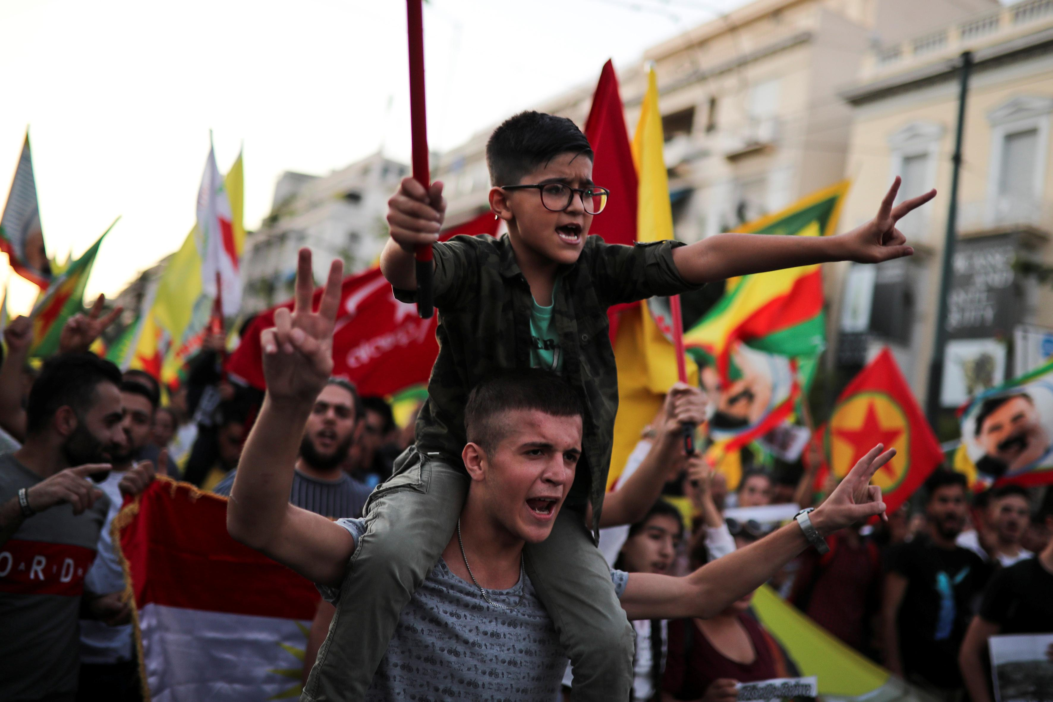 Kurds march in Paris and Athens to protest Turkish incursion into...