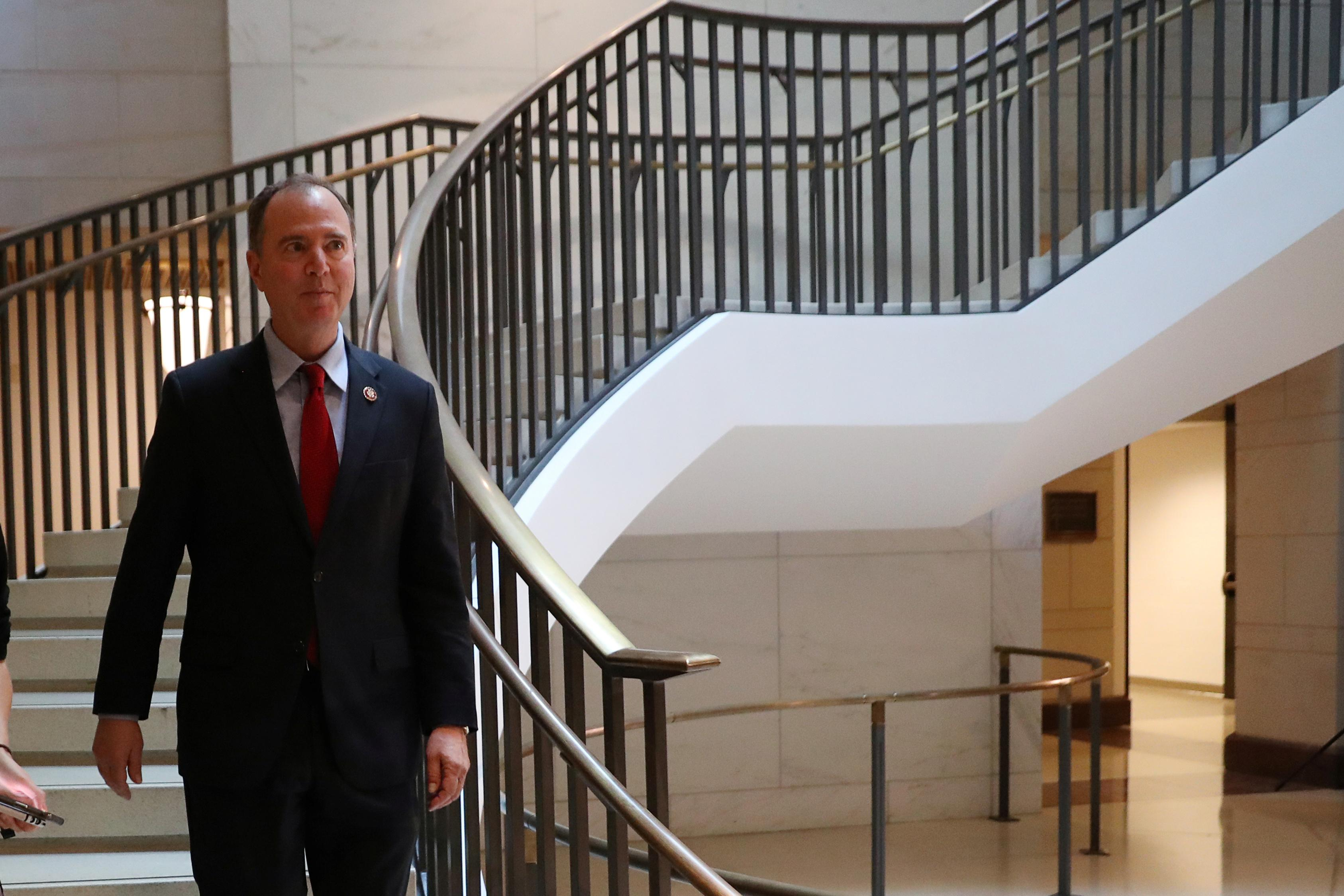 House Intelligence Committee Chairman Rep. Adam Schiff (D-CA) arrives prior to participating in the closed deposition of George Kent, deputy assistant secretary of state for Europe and Eurasian Affairs, as part of the Democratic-led U.S. House of Representatives impeachment inquiry into U.S. President Donald Trump on Capitol Hill in Washington, U.S., October 15, 2019. Leah Millis