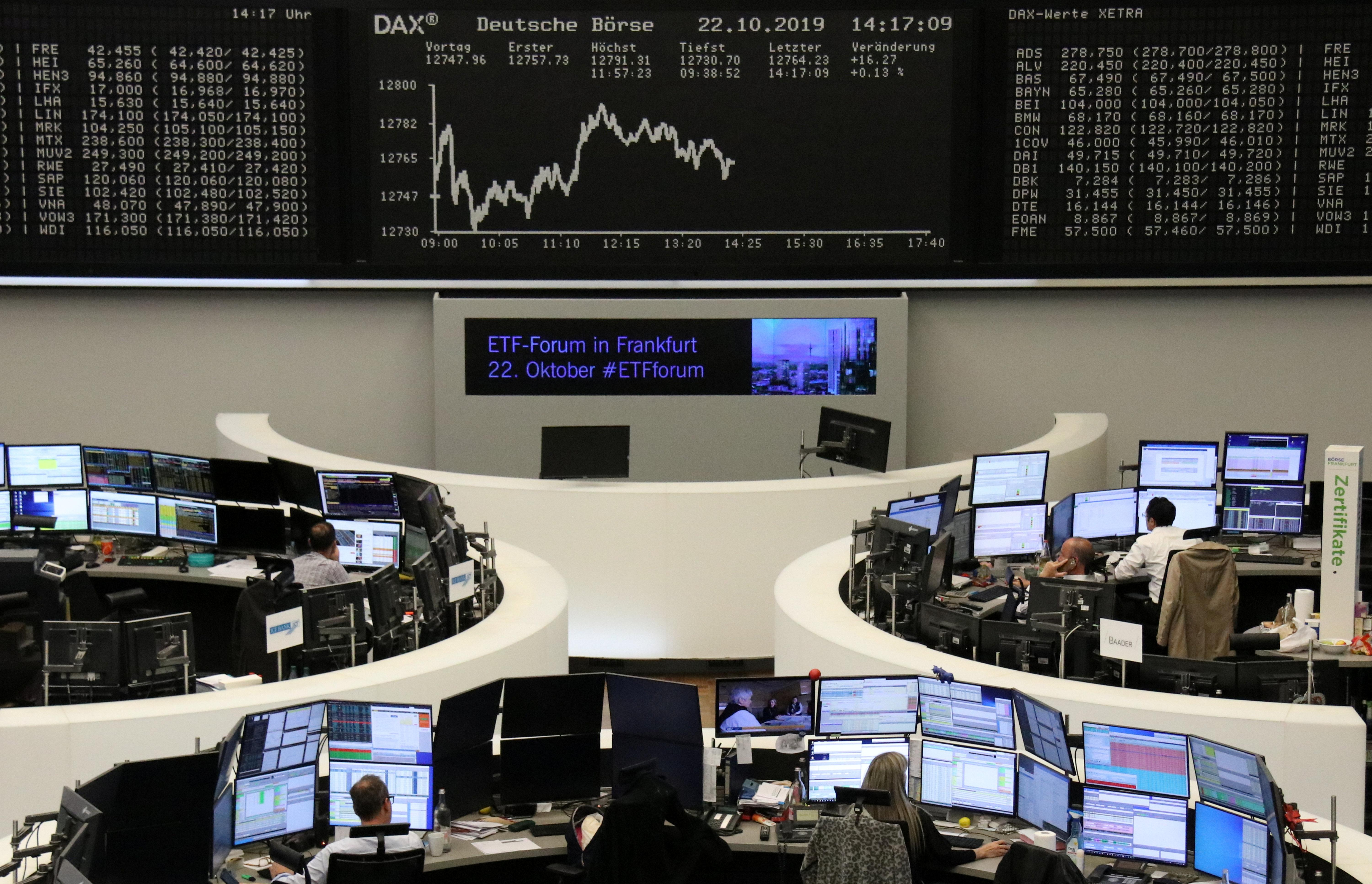 European shares nudge up, earnings a mixed bag