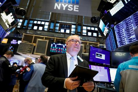 US STOCKS SNAPSHOT-Wall St edges higher at open after strong Apple, Facebook results