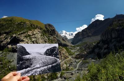 Photos show dramatic Swiss glacier retreat