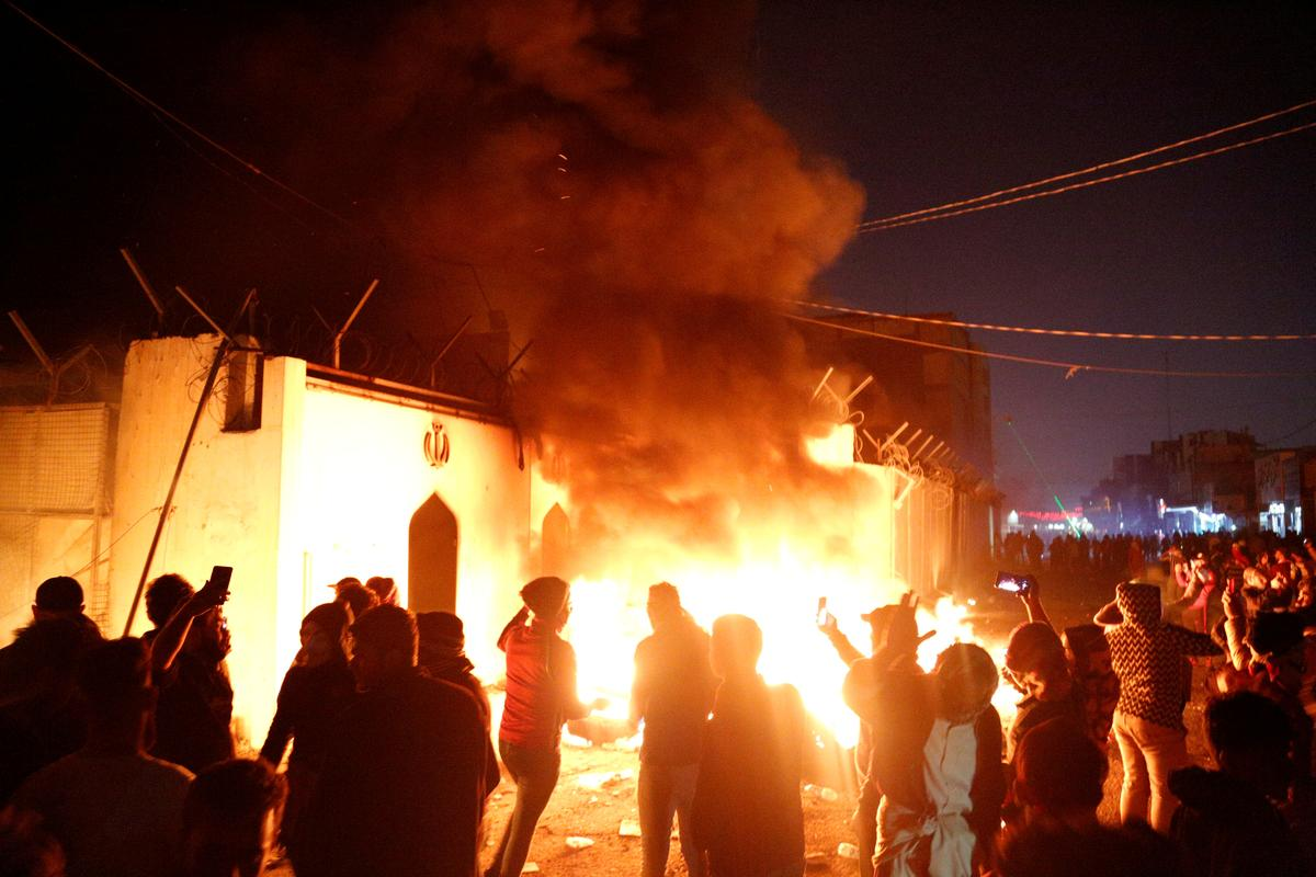 Iraqi protesters set fire to Iran consulate in Najaf: police, first responders
