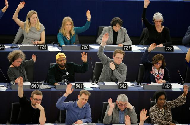 Image result for Members of the European Parliament take part in a voting session in Strasbourg, France, November 28, 2019.