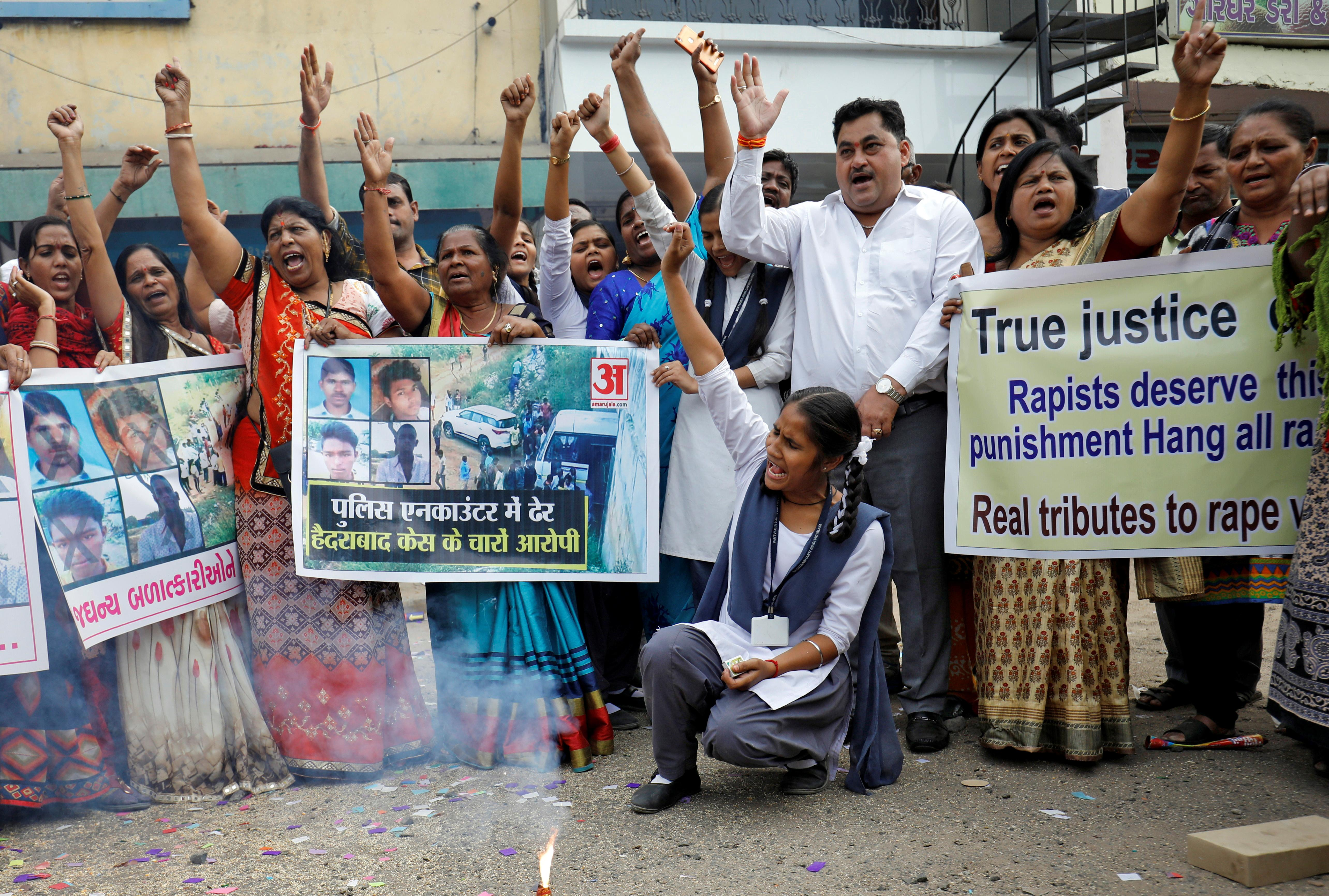 Indian police kill four men suspected of gang rape, murder; draw...