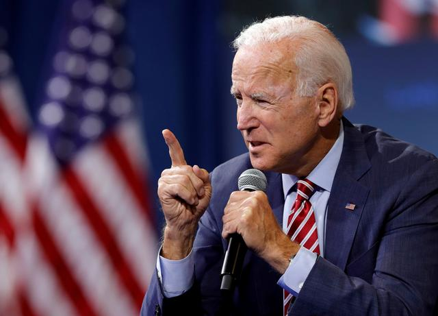 FILE PHOTO: U.S. Democratic presidential candidate and former U.S. Vice President Joe Biden speaks during a forum held by gun safety organizations the Giffords group and March For Our Lives in Las Vegas, Nevada, U.S. October 2, 2019.  REUTERS/Steve Marcus/File Photo