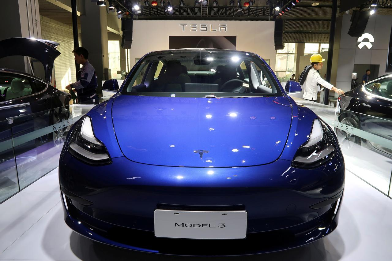 Image result for A China-made Tesla Model 3 electric vehicle